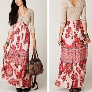 Free People Ethnic Red Rose Dress NWT